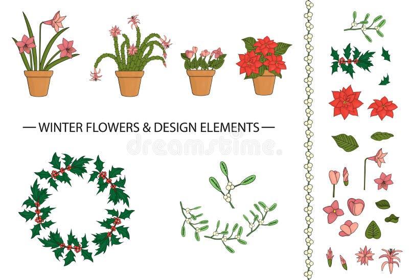 Sistema del vector de flores del invierno y de elementos del diseño en potes ilustración del vector