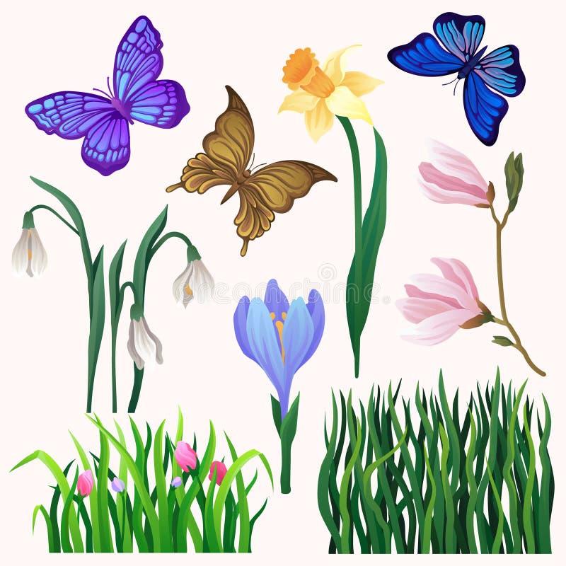 Sistema del vector de flores y de mariposas florecientes brillante-coloreadas Hierba verde larga Insecto de vuelo hermoso Tema de stock de ilustración