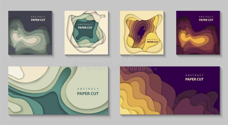 Sistema del vector de 6 fondos con formas coloridas del corte del papel estilo de papel abstracto del arte 3D, disposición de dis stock de ilustración