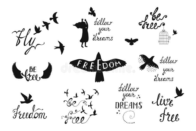 Sistema del vector de frases dibujadas mano de la caligrafía con los pájaros de vuelo, stock de ilustración