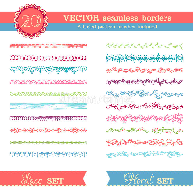 Sistema del vector de fronteras inconsútiles aisladas en el fondo blanco libre illustration
