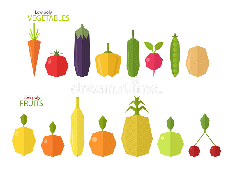 Sistema del vector de frutas y verduras polivinílicas bajas libre illustration