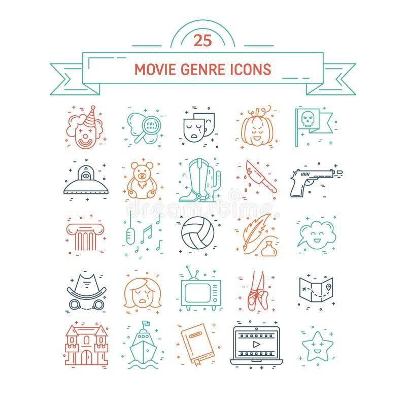 Sistema del vector de géneros de la película stock de ilustración
