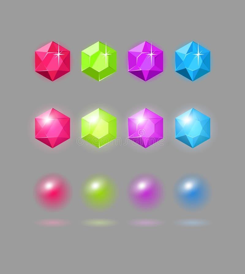 Sistema del vector de gemas coloridas ilustración del vector