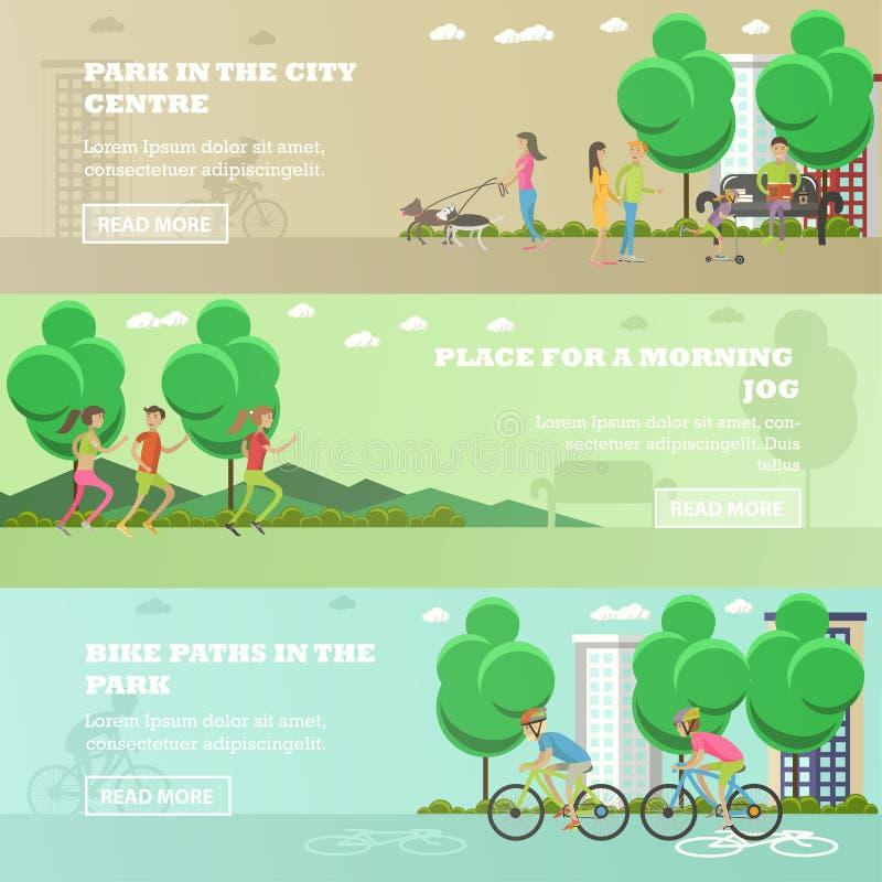 Sistema del vector de gente en banderas del concepto del parque Funcionamiento, caminando hacia fuera perros, completando un cicl stock de ilustración