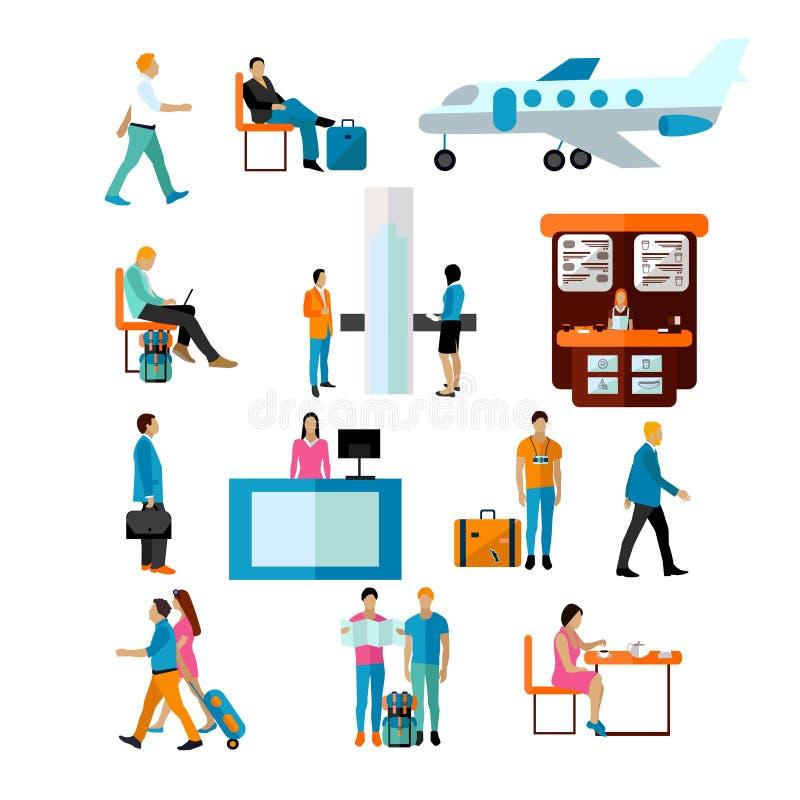 Sistema del vector de gente en el aeropuerto aislado en el fondo blanco Iconos y elementos del diseño ilustración del vector