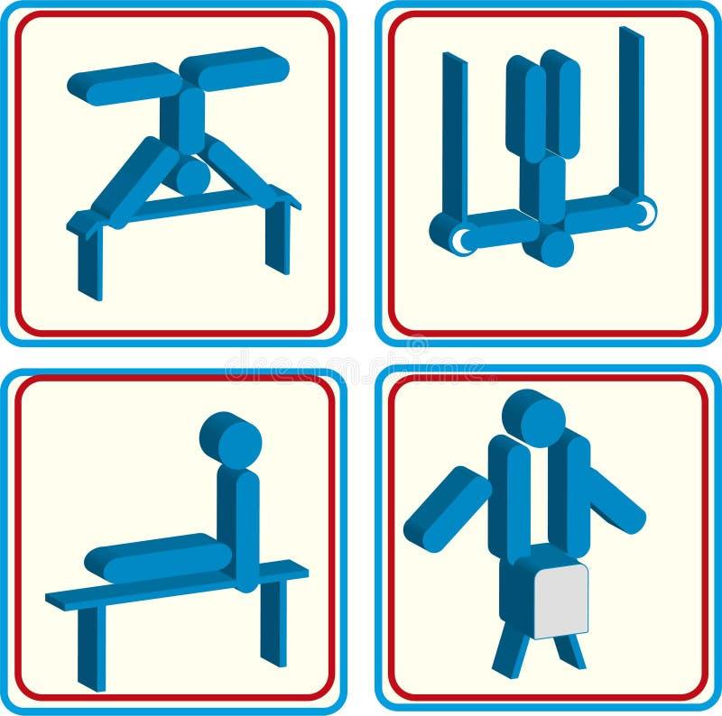 Sistema del vector de gente en posiciones gimnásticas del deporte Iconos planos del deportista aislados en el fondo blanco stock de ilustración