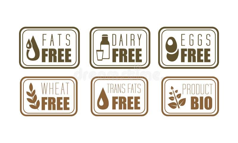Sistema del vector de grasas libres, de lechería, de huevos y de trigo del transporte de las etiquetas del alergénico Símbolos de libre illustration