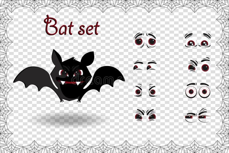 Sistema del vector de Halloween del carácter lindo del palo de la historieta para las emociones de la creación en fondo transpare stock de ilustración