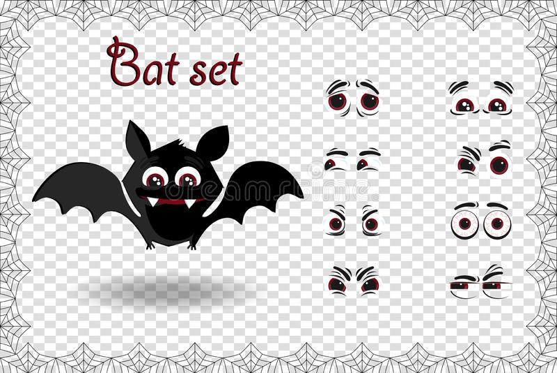 Sistema del vector de Halloween del carácter lindo del palo de la historieta para las emociones de la creación en fondo transpare libre illustration