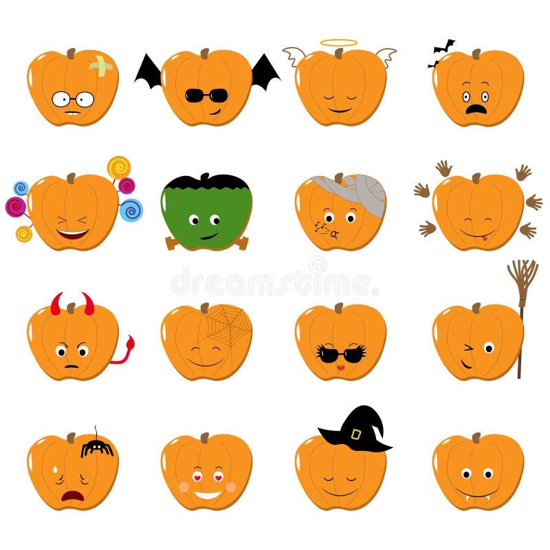 Sistema del vector de Halloween de los Emoticons Etiquetas engomadas divertidas lindas Estilo plano de la historieta de los pumki ilustración del vector