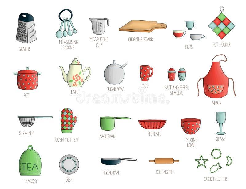 Sistema del vector de herramientas coloreadas de la cocina con las letras libre illustration