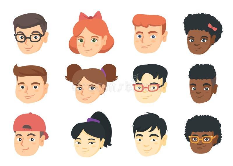 Sistema del vector de historietas sonrientes del emoji de los niños ilustración del vector