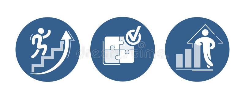 Sistema del vector de iconos del éxito El gráfico cada vez mayor con la figura confiada, corriendo para arriba la escalera de la  libre illustration