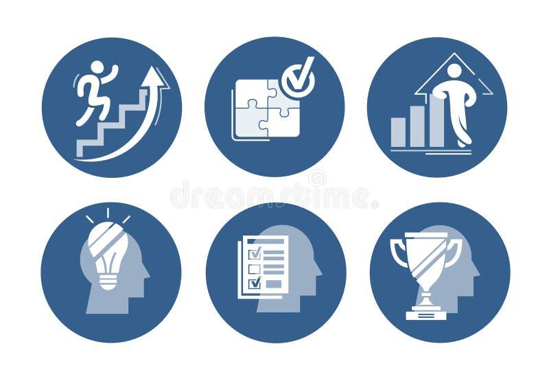 Sistema del vector de iconos del éxito El gráfico cada vez mayor con la figura confiada, corriendo para arriba la escalera de la  stock de ilustración