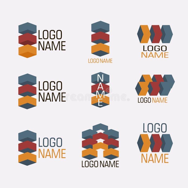 Sistema del vector de iconos abstractos de los logotipos aislados stock de ilustración