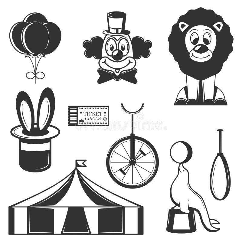 Sistema del vector de iconos aislados circo Símbolos del circo y elementos blancos y negros del diseño stock de ilustración