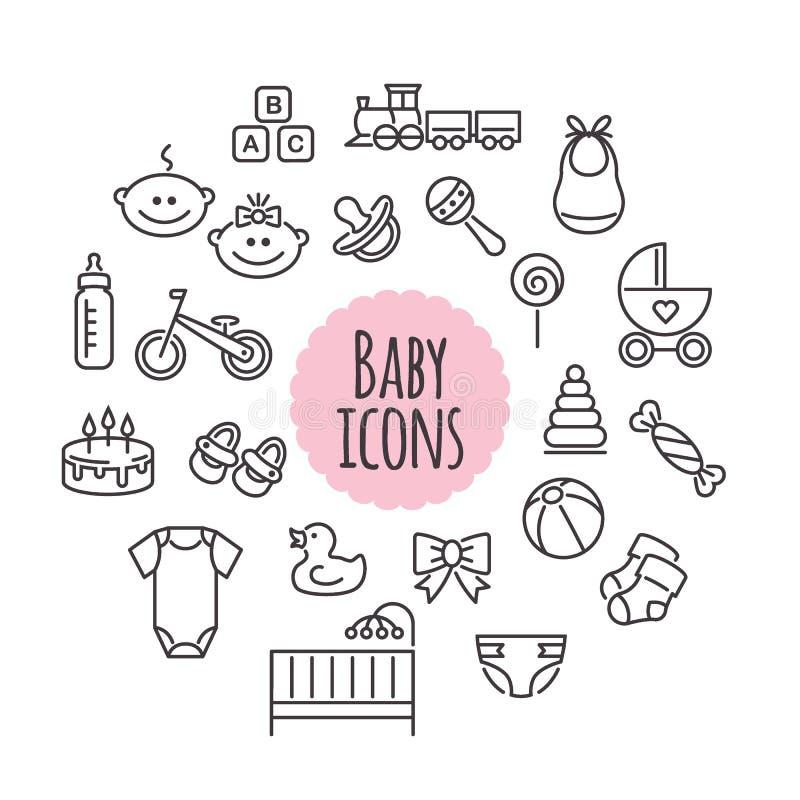 Sistema del vector de iconos del bebé Muestras planas del estilo ilustración del vector