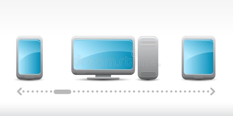 Sistema del vector de iconos computacionales de la nube stock de ilustración