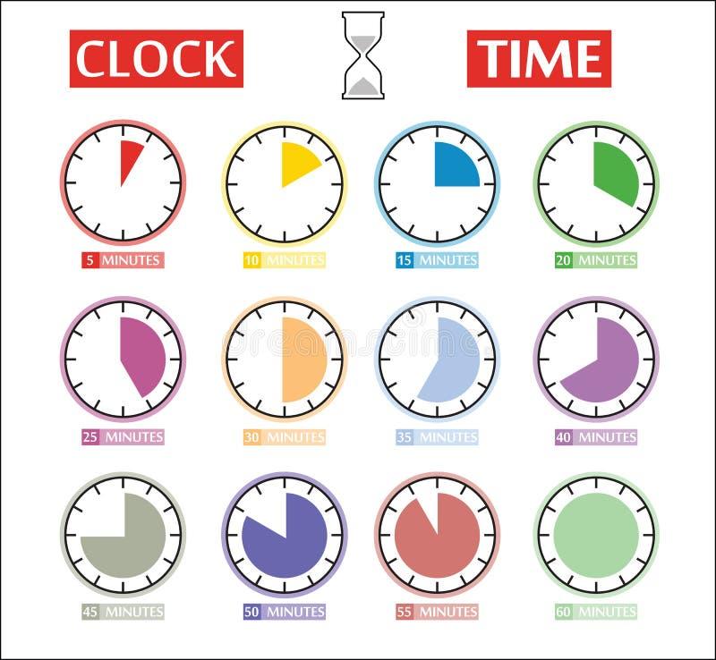 Sistema del vector de iconos del contador de tiempo Iconos del intervalo de momento diferente ilustración del vector