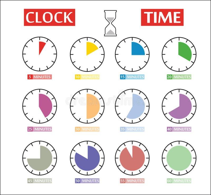 Sistema del vector de iconos del contador de tiempo Iconos del intervalo de momento diferente libre illustration