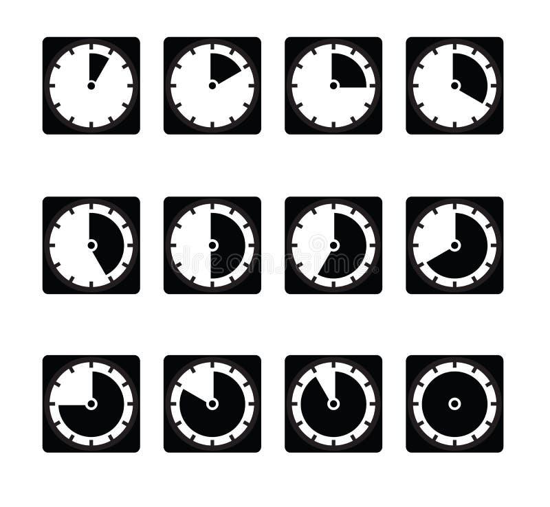 Sistema del vector de iconos del contador de tiempo Iconos del intervalo de momento diferente stock de ilustración