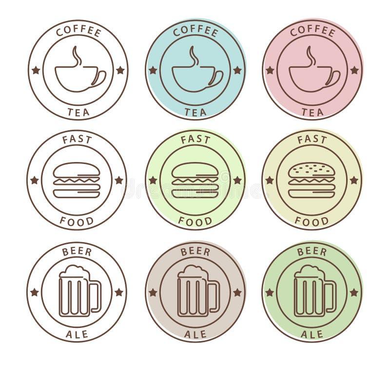 Sistema del vector de iconos de la comida en estilo del esquema ilustración del vector