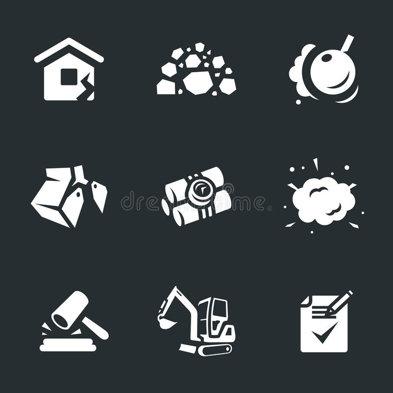 Sistema del vector de iconos de la demolición libre illustration