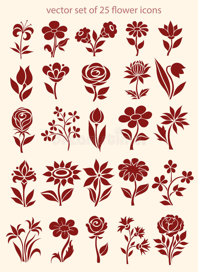 Sistema del vector de iconos de la flor stock de ilustración