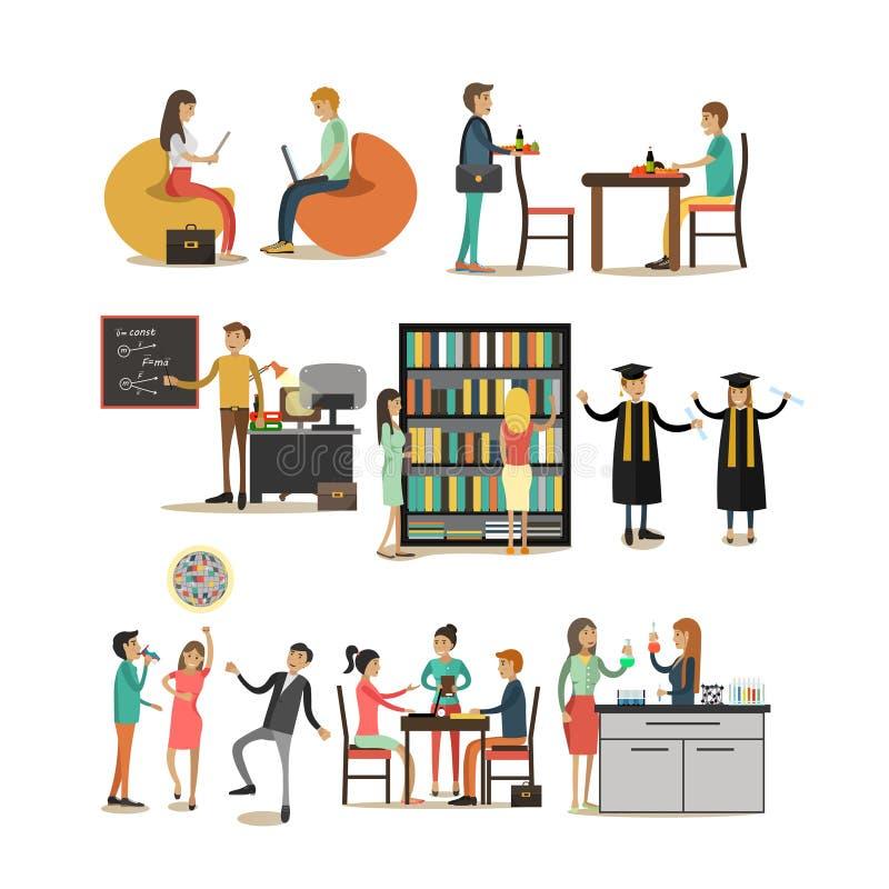 Sistema del vector de iconos de la gente de la universidad en estilo plano stock de ilustración