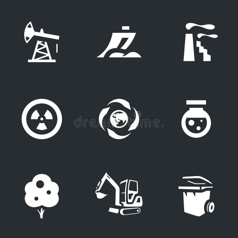 Sistema del vector de iconos de la protección del medio ambiente stock de ilustración