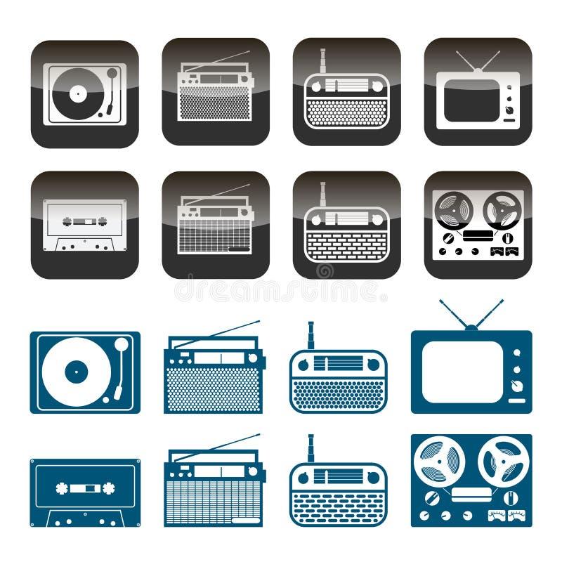 Sistema del vector de iconos de la radio, del audio y de la música Objetos aislados en el fondo blanco ilustración del vector