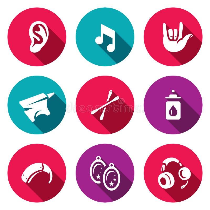 Sistema del vector de iconos de la sordera Oído, sonido, lenguaje de signos, yunque, esponja de algodón, ácido bórico, audífono,  stock de ilustración