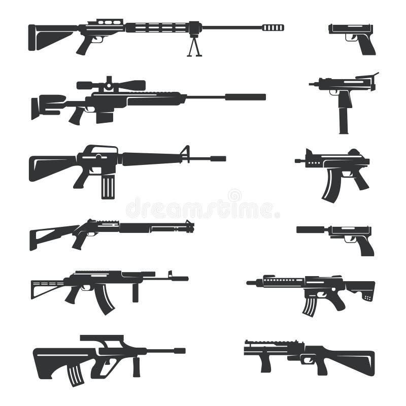 Sistema del vector de iconos de los armas stock de ilustración