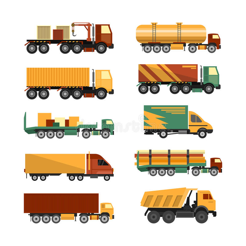 Sistema del vector de iconos de los camiones en el fondo blanco Entrega y vehículos del buque mercante libre illustration