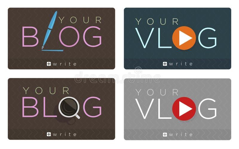 Sistema del vector de iconos del blog y del vlog stock de ilustración
