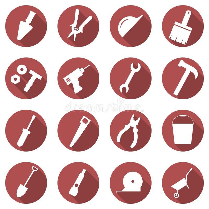 Sistema del vector de iconos del concepto del edificio Imágenes planas de herramientas libre illustration
