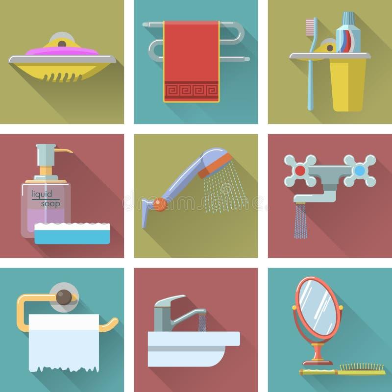 Sistema del vector de iconos del cuarto de baño en estilo plano stock de ilustración