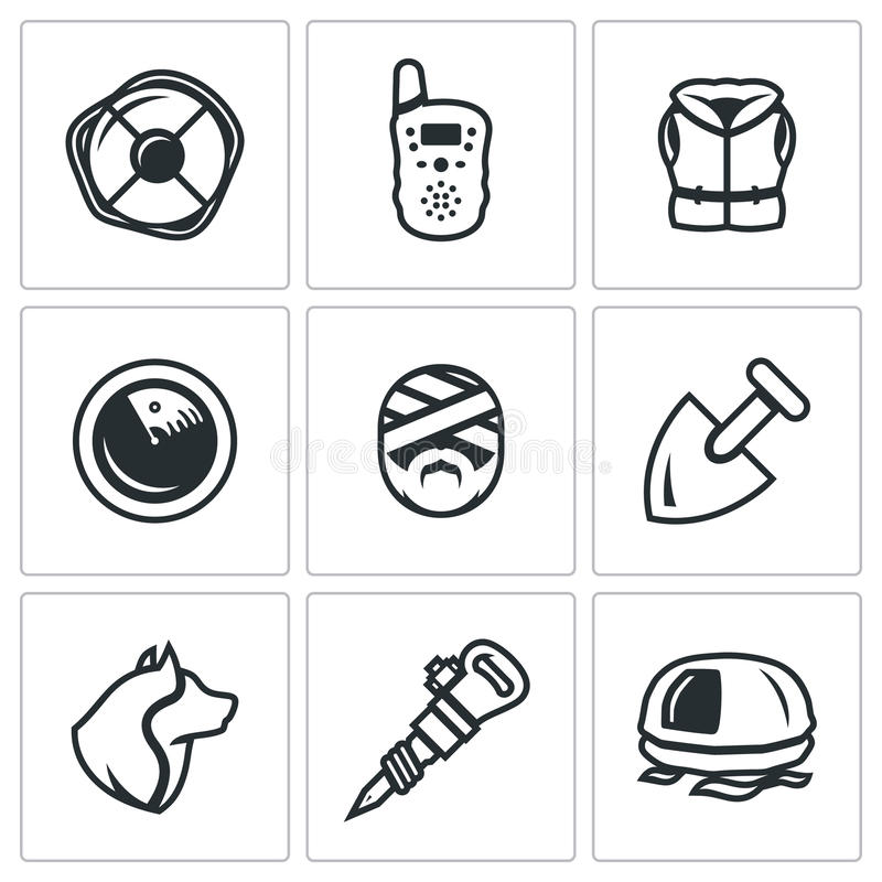 Sistema del vector de iconos del servicio de búsqueda y de rescate Salvavidas, radio, chaleco salvavidas, radar, víctima, pala, p stock de ilustración