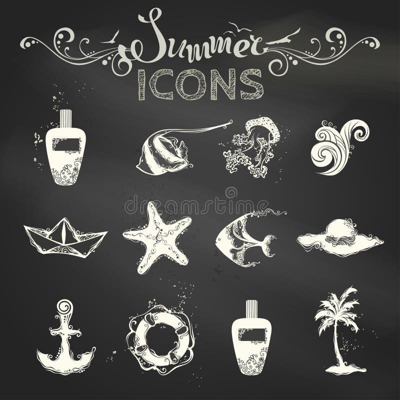 Sistema del vector de iconos del verano de la tiza libre illustration
