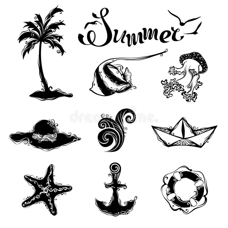 Sistema del vector de iconos del verano y del viaje libre illustration
