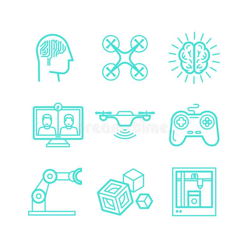 Sistema del vector de iconos en estilo linear de moda libre illustration