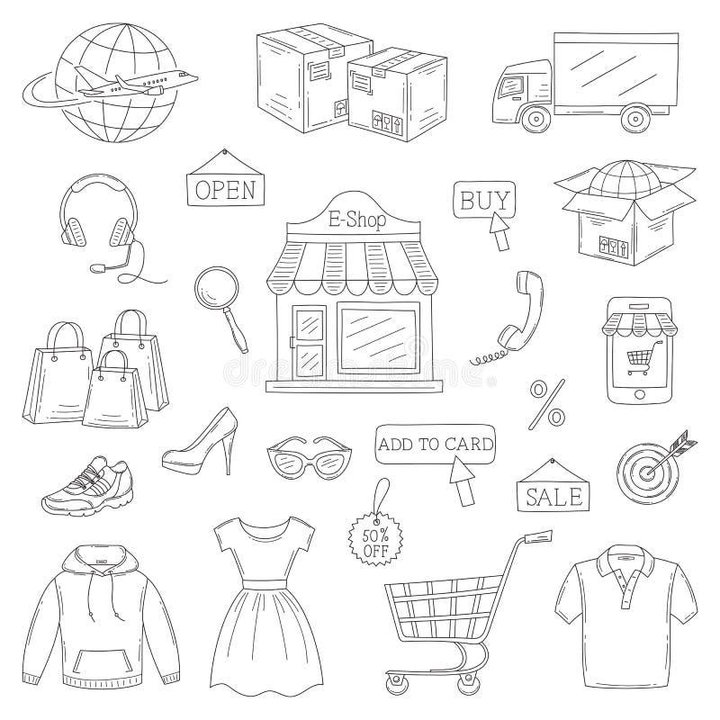 Sistema del vector de iconos en línea dibujados mano de las compras libre illustration