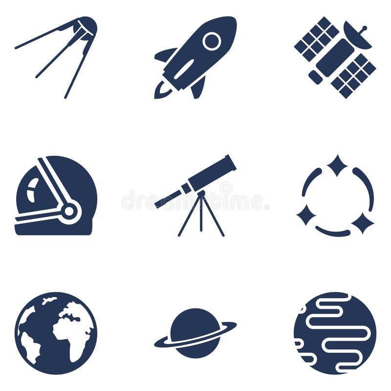 Sistema del vector de iconos del espacio de la silueta Símbolos de la astronomía ilustración del vector