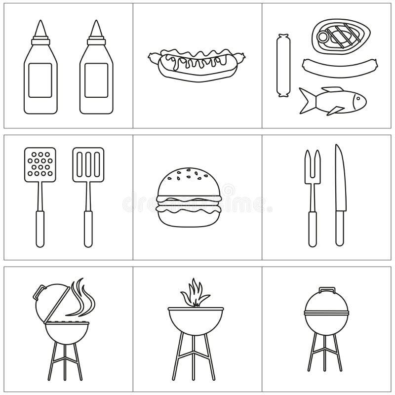 Sistema del vector de iconos de la barbacoa salsa del contorno y parrilla y hamburguesa stock de ilustración