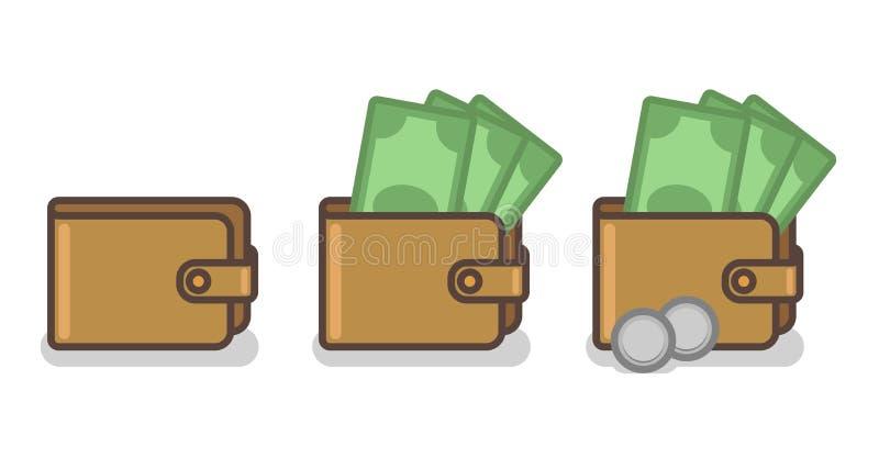Sistema del vector de iconos de la cartera con los billetes de banco y las monedas libre illustration