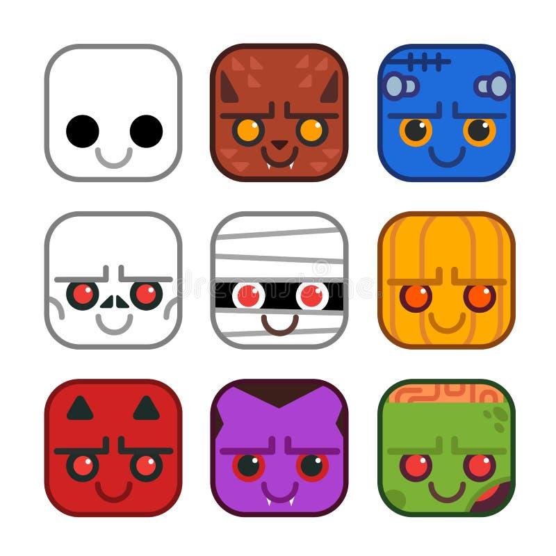 Sistema del vector de iconos lindos del monstruo en estilo plano del diseño Fantasma, hombre lobo, Frankenstein, esqueleto, momia stock de ilustración