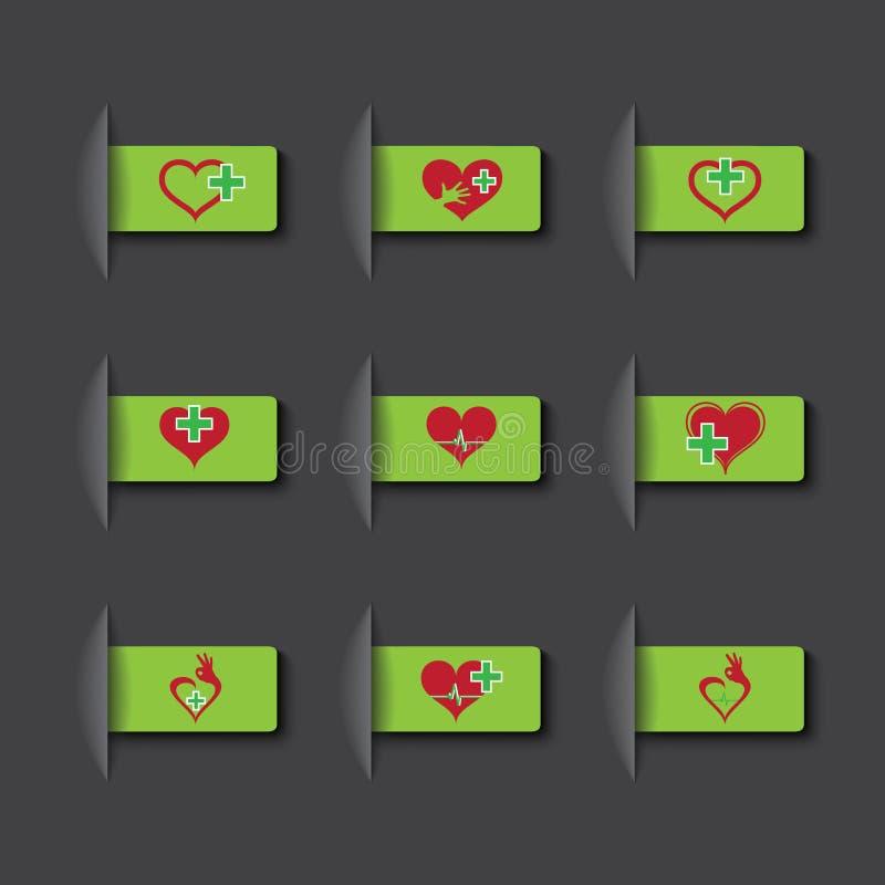 Sistema del vector de iconos médicos stock de ilustración