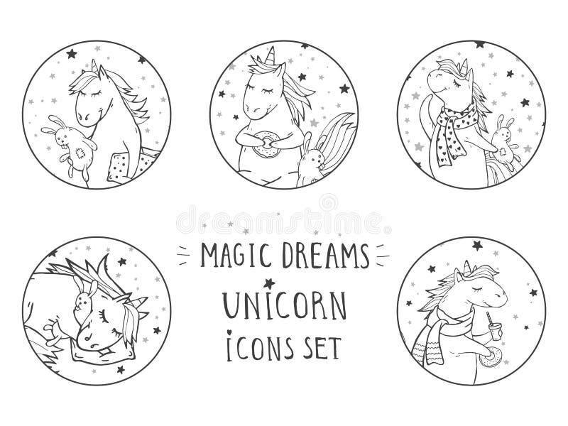 Sistema del vector de iconos negros con unicornios lindos exhaustos de la mano Mande un SMS - a los SUEÑOS MÁGICOS libre illustration