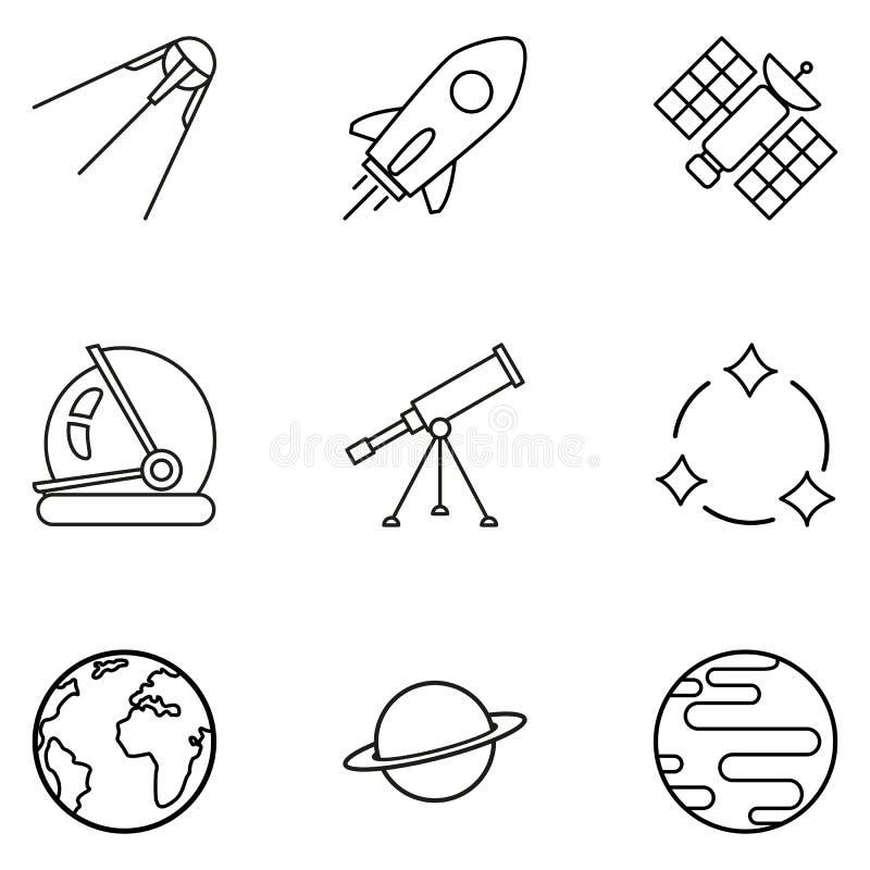 Sistema del vector de iconos negros del espacio del esquema libre illustration